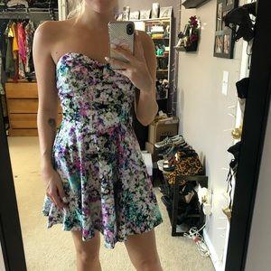Strapless Watercolored Mini Dress